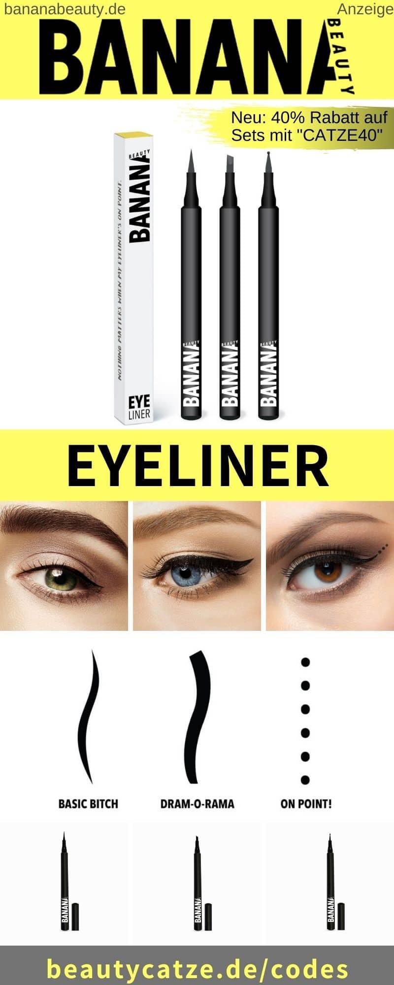 Banana Beauty Eyeliners im Test, Ink Liner Erfahrungen, Anwendung