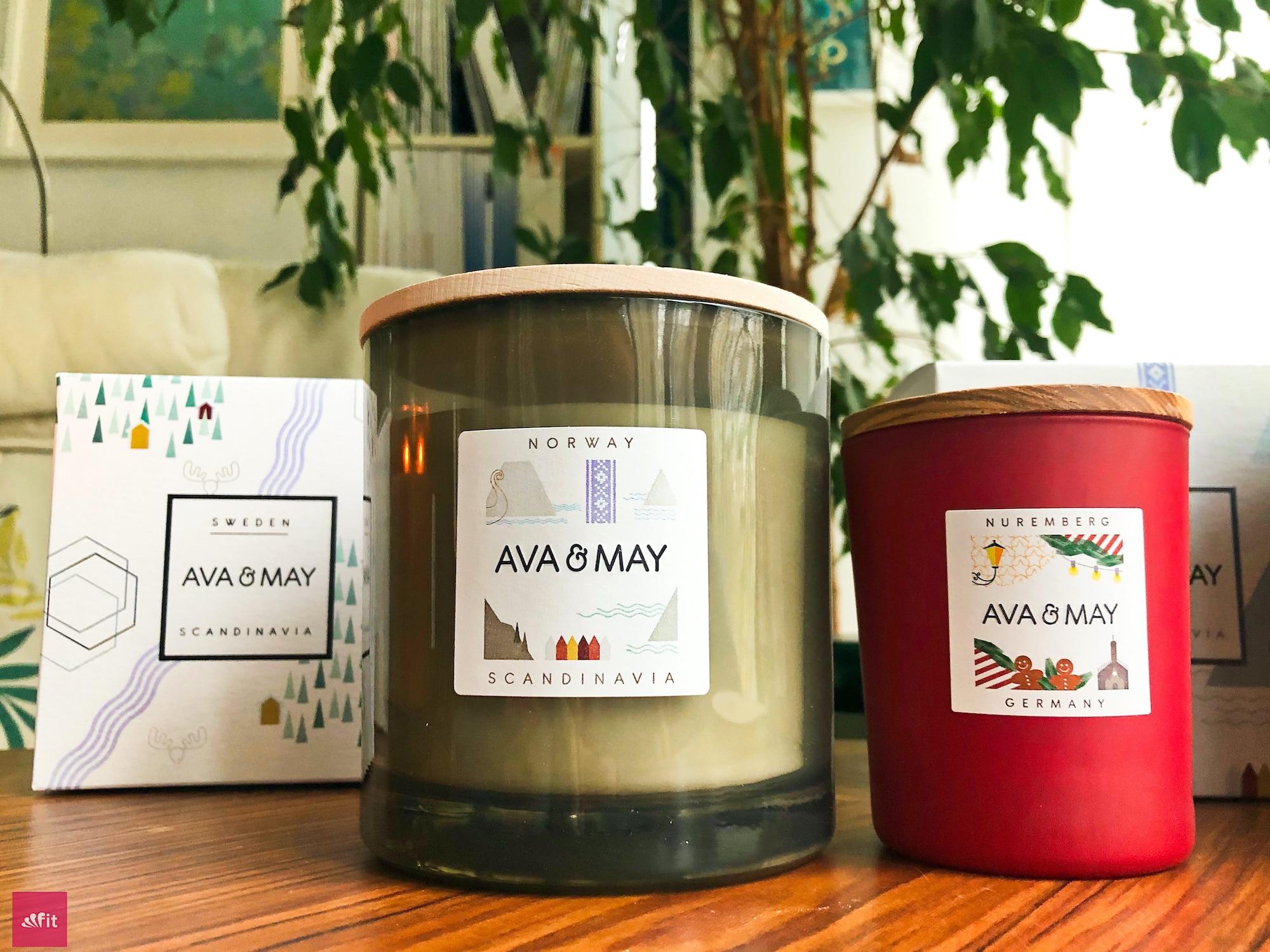 Ava and May große Kerze und normale Kerze im vergleich (500g vs. 180g)