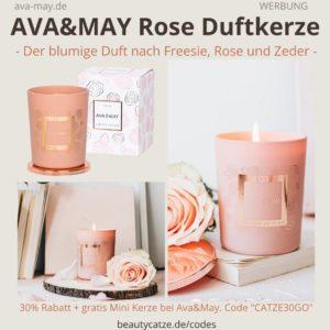 Ava May Kerze Rose Duft Bewertung rosa Duftkerze
