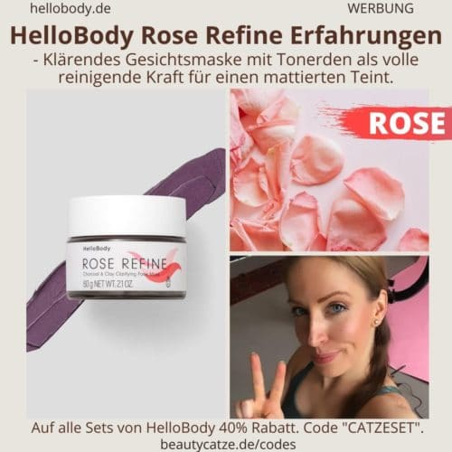 Hello Body Linie ROSE REFINE Erfahrungen Gesichtsmaske Kohle Maske Anwendung Bewertung
