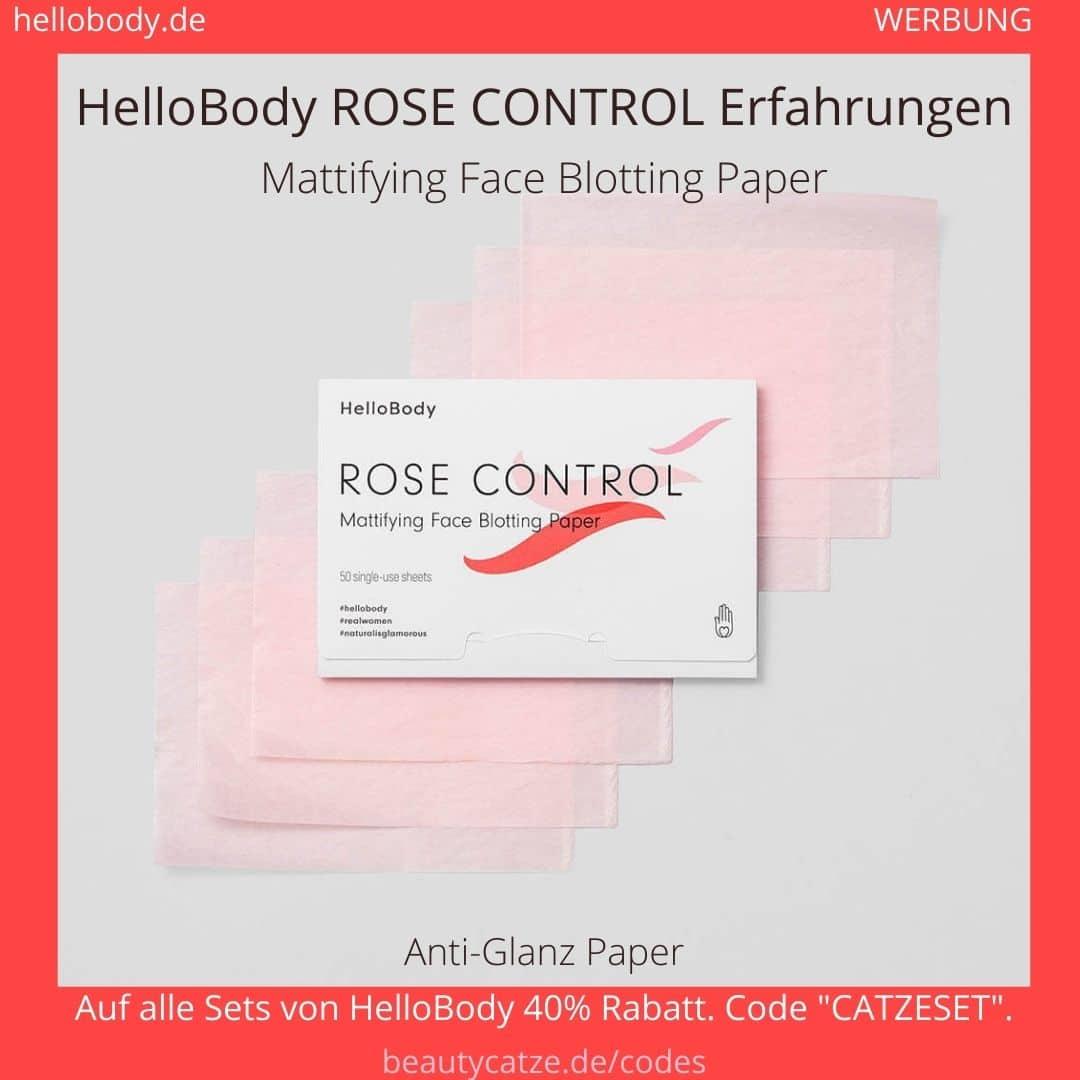 Hello Body ROSE CONTROL Erfahrungen Blätter fettiges Gesicht abmattieren Anwendung Bewertung