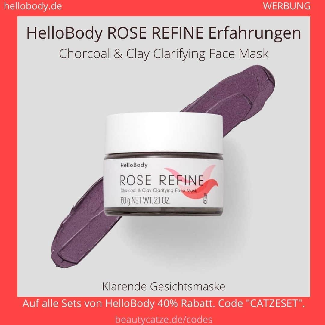 Hello Body ROSE REFINE Erfahrungen Gesichtsmaske Kohle Maske Anwendung Bewertung