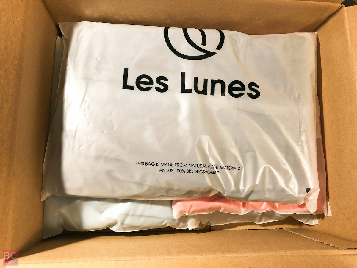 Les Lunes Erfahrungen kompostierbare Verpackung Beutel im Karton