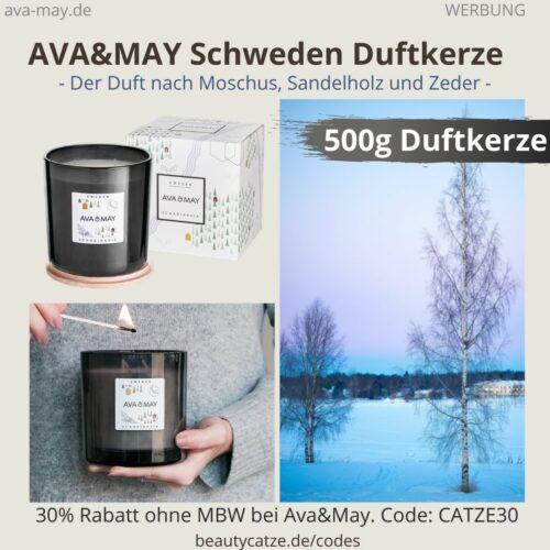 Ava & May SCHWEDEN Skandinavien große Duftkerze 500g Erfahrung Wachs Winterduft