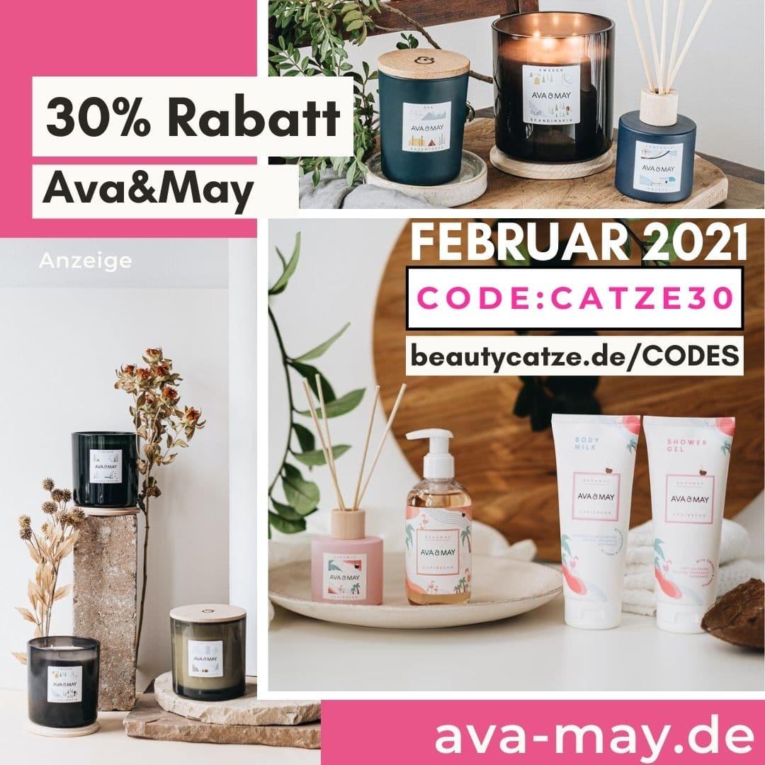 AVA and May Gutschein Code Februar 2021 30% Rabatt große Kerzen