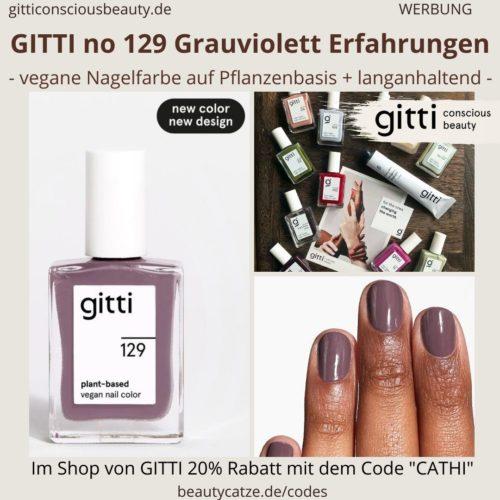 Erfahrungen Grauviolett GITTI no 129 pflanzenbasiert langanhaltend Nagelfarben