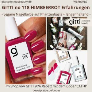 Himbeerrot GITTI no 118 pflanzenbasiert langanhaltend Nagelfarben Erfahrungen