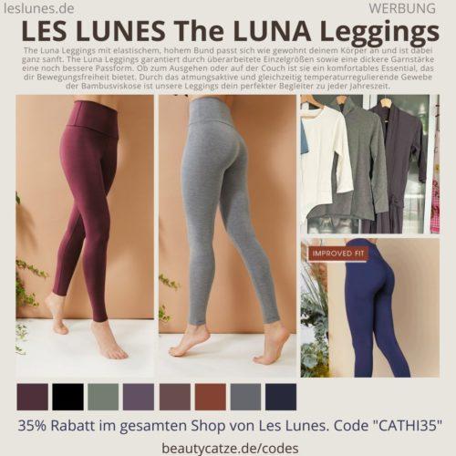 The LUNA Leggings Passform Stoff Größe blickdicht Bewertung LES LUNES Erfahrungen