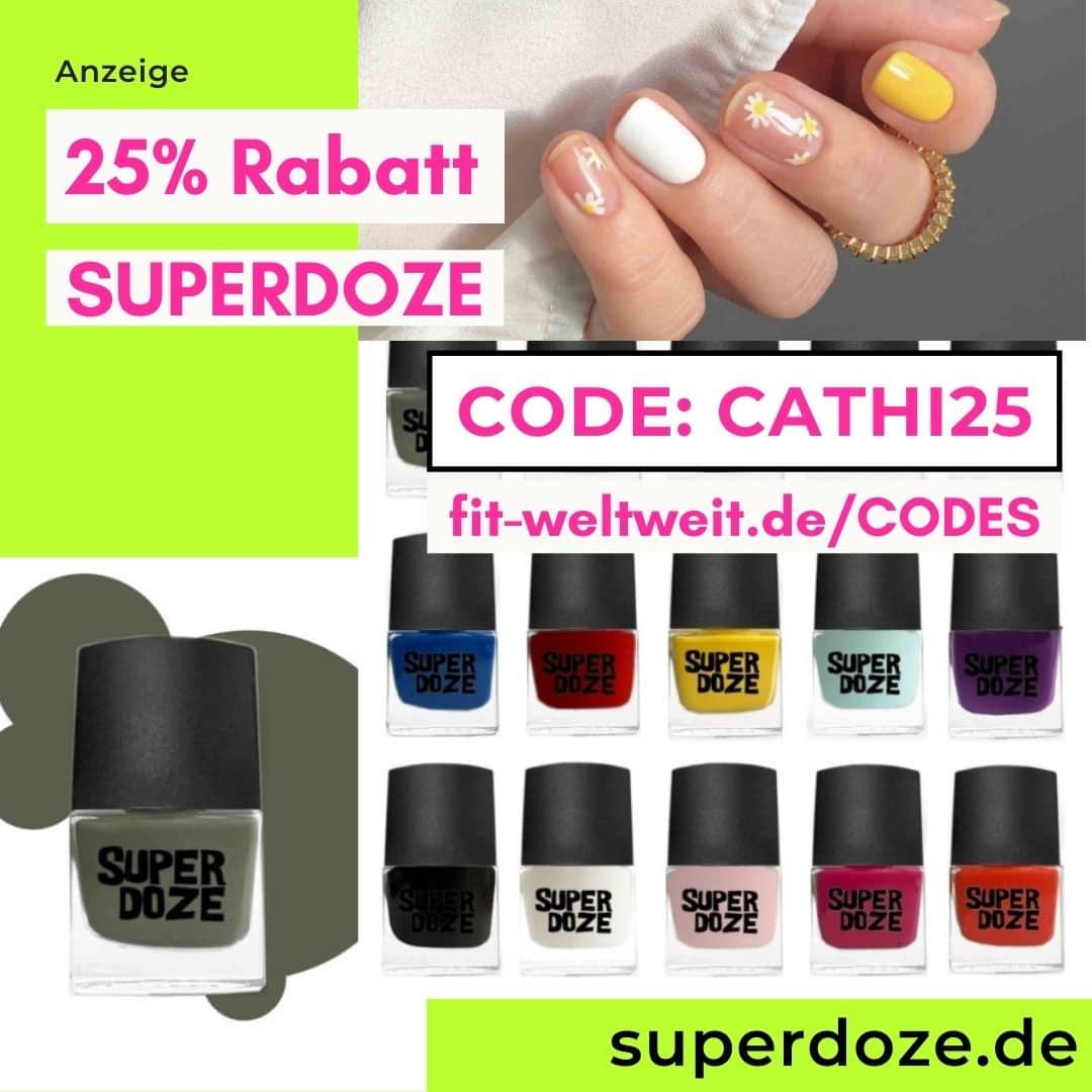 25% Rabattcode SUPERDOZE Code bunter Nagellack Instagram