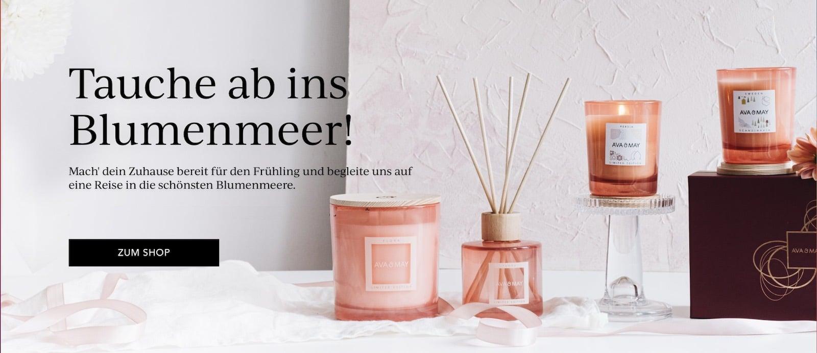 AVA & MAY Flora große Duftkerze Duftstäbchen Erafhrungen Geranie Kamille Pfingstrose Set