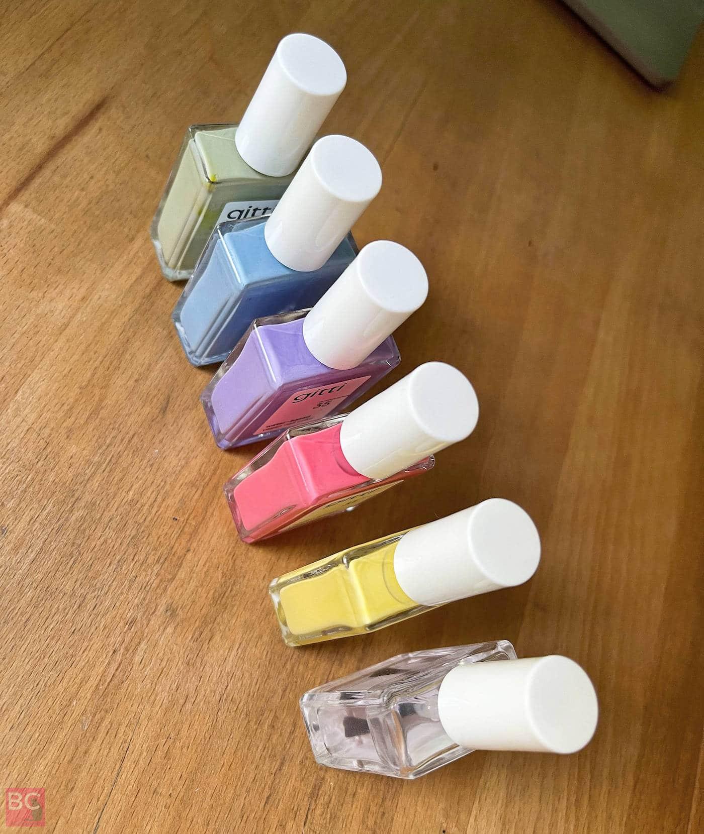 Gitti Nagellack Rainbow Reihenfolge Farben Regenbogen bunte Nägel lackieren