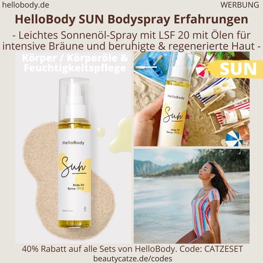HelloBody SUN Bodyspray ERFAHRUNG Test Sonenöl-Spray Hello Body