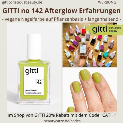 AFTERGLOW GITTI Nagellack No 142 Gelbgrün ERFAHRUNG Nagelfarbe Grün plant-based