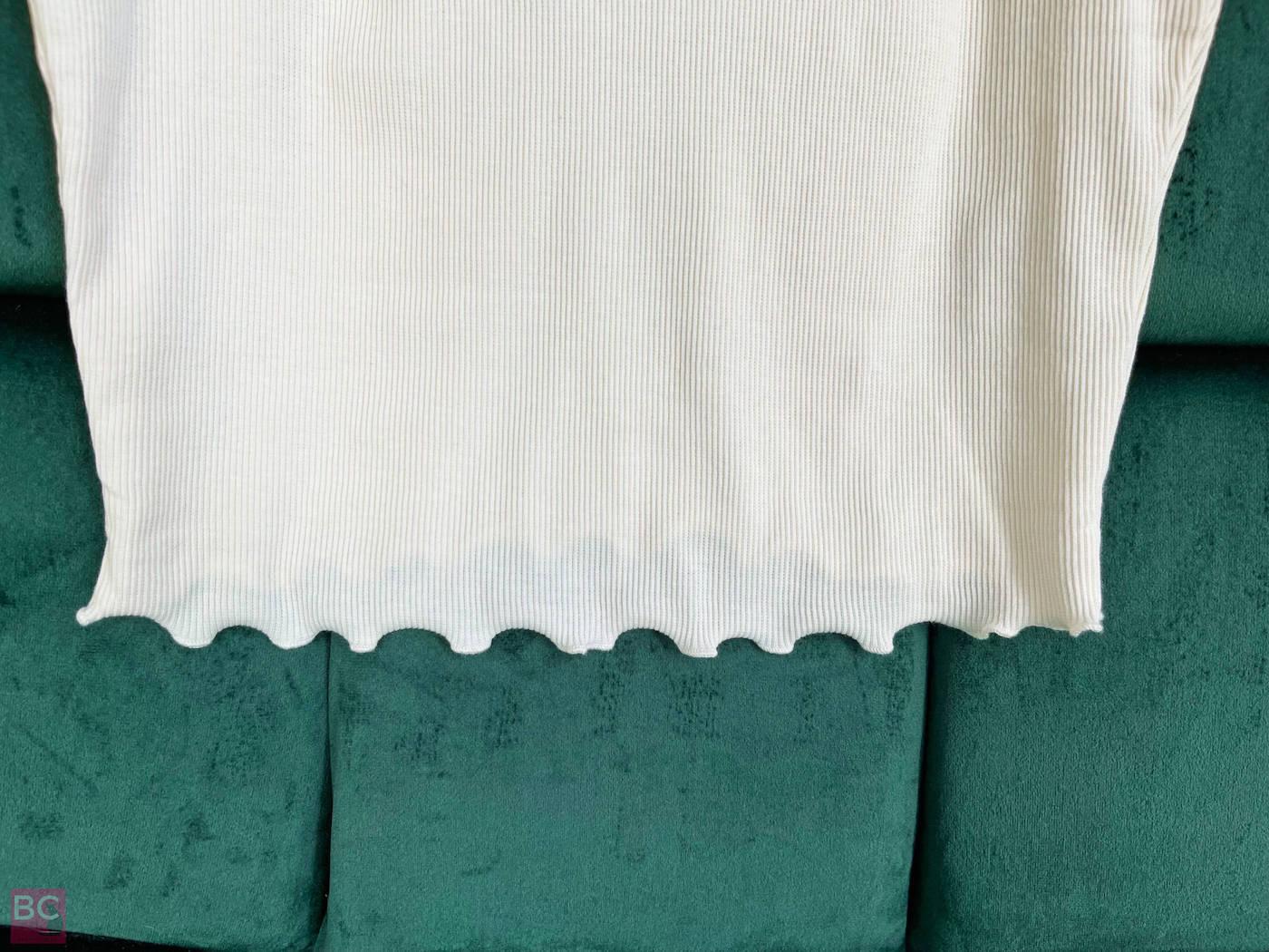 Blickdicht gerippter Stoff The April Top Shirt Les Lunes Erfahrungen Farbe Oatmilk
