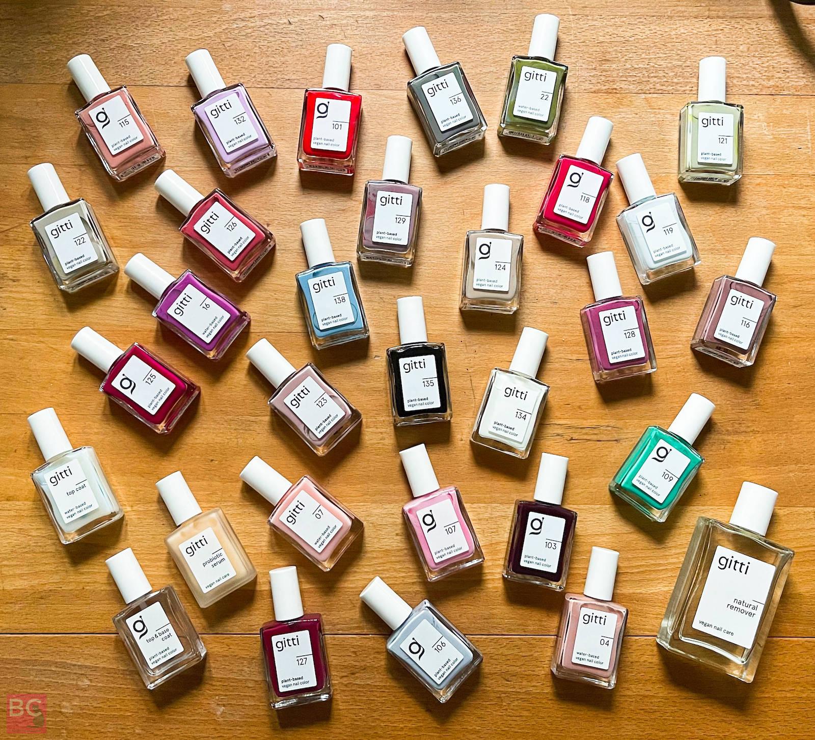 Gitti Sortiment Nagellack Erfahrungen Farben Auswahl Nagellfarben vegan pflanzlich Wasserbasis