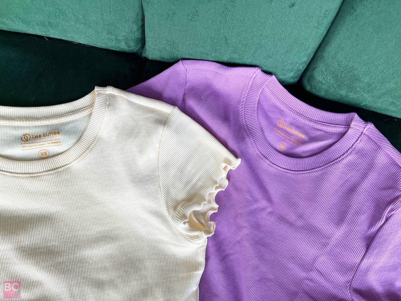 The APRIL TOP Shirt Les Lunes Erfahrungen Farbe Lilac Oatmilk Größe XS