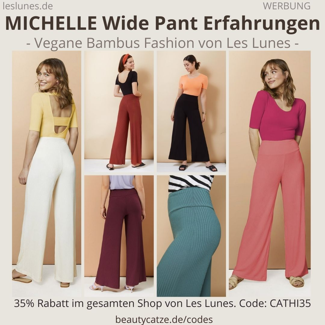 The MICHELLE WIDE PANTS Hose gerippte Schlaghose Les Lunes Erfahrungen Größe Stoff