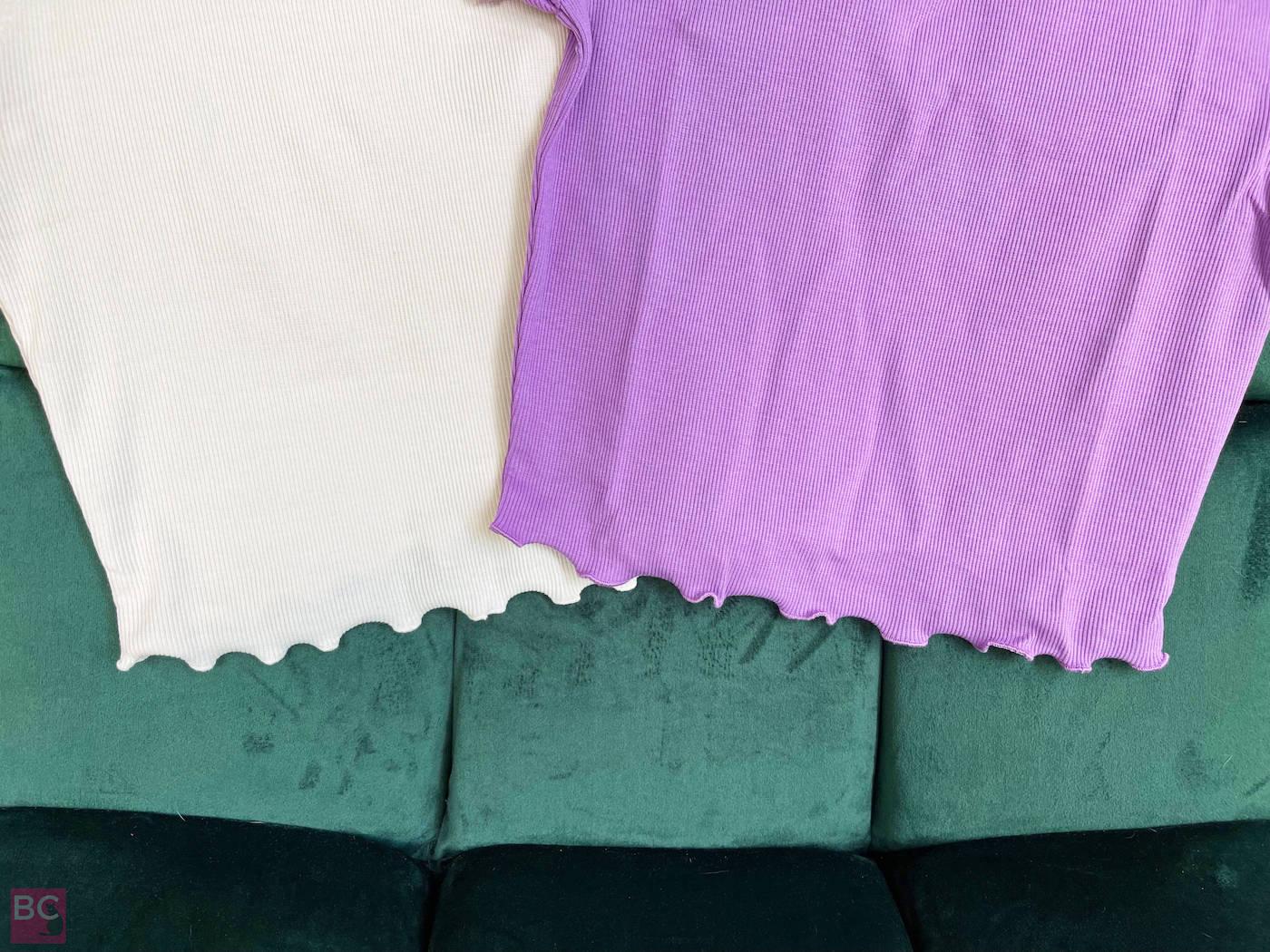 Wellenbund bauchfreies Shirt The April Top in den Farben Lilac und Oatmilk