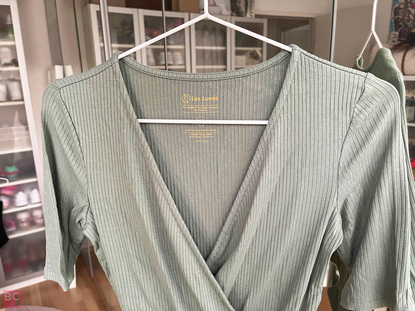 Erfahrugen The Zoey Bodysuit Les Lunes V- Ausschnitt Größe Rib Stoff Schnitt Passform