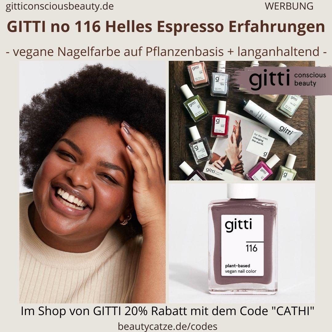 HELLES ESPRESSO GITTI Nagellack No 116 braun hell ERFAHRUNG Nagelfarbe plant-based