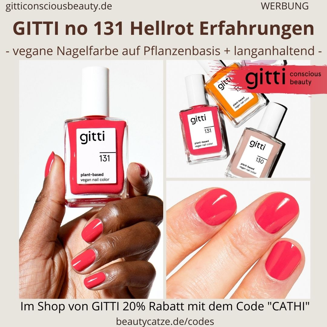 HELLROT GITTI Nagellack No 131 helles rot ERFAHRUNG Nagelfarbe plant-based