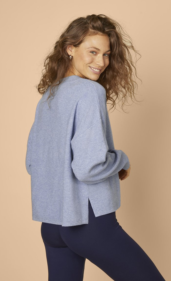 Les Lunes Nola Sweater Blau Steel blue melange hinten